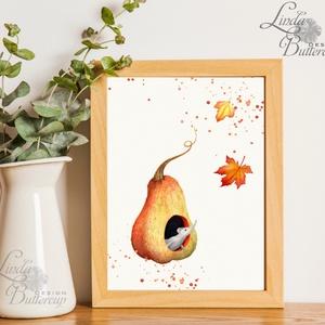 Babaszoba flikép, Egér, őszi levelek, Halloween Dekoráció, Őszi Ajtódísz, kép, tök, dekor, egér, pumpkin, ősz, őszi (LindaButtercup) - Meska.hu