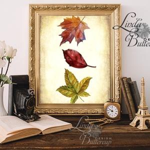 Őszi dekoráció, őszi falikép, őszi falevelek, levél festmény, őszi kép, levél falikép, dekor, tök , Otthon & Lakás, Kép & Falikép, Dekoráció, Őszi kép, Print, Nyomtatott lap, Keret nélkül A4-es méretben.  Gyönyörű Őszi dekoráció konyhába, nap..., Meska