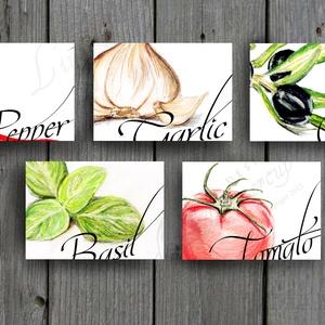 Konyhai falikép, konyha dekoráció, Olasz fűszer, Zöldség festmény, zöldségek, paradicsom, oliva, paprika, hagyma,kitchen (LindaButtercup) - Meska.hu