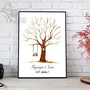 Esküvői ujjlenyomat fa feszített vásznon, Esküvői fa, Emlék, Esküvői dekor, Fa festmény, mókus, őszi, ősz, süni, állatos (LindaButtercup) - Meska.hu