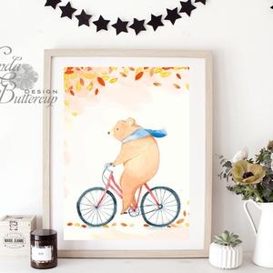 őszi Kép, babaszoba dekor, erdei állat, mackó, medve, maci,  Dekoráció, Őszi Ajtódísz, falikép, tök, dekor, ősz, őszi,, Otthon & Lakás, Kép & Falikép, Dekoráció, Fotó, grafika, rajz, illusztráció, Mindenmás, Meska
