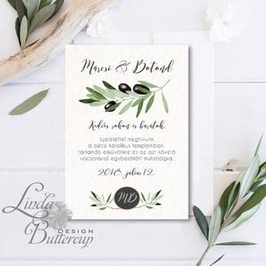 Greenery Meghívó, olívabogyó,  zöld Esküvői meghívó, eukaliptusz, zöld leveles, levél, natúr meghívó, természetközeli, Esküvő, Meghívó, Meghívó & Kártya, Minőségi  Esküvői  Meghívó  * MEGHÍVÓ CSOMAG BORÍTÉKKAL: - Meghívó egy lap, egy oldalas: kb.: 14cm x..., Meska