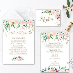 Virágos Esküvői meghívó, Romantikus, elegáns meghívó, Barack virág, virágos meghívó, Modern, Rózsás, Rózsa, zöld, barack (LindaButtercup) - Meska.hu