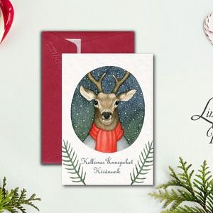 Karácsonyi Képeslap, Vintage karácsony, Állatos, Adventi üdvözlőlap, Ünnepi lap, hó, klasszikus, medve, róka, szarvas, Képeslap & Levélpapír, Papír írószer, Otthon & Lakás, Fotó, grafika, rajz, illusztráció, Mindenmás, Minőségi Kinyitható Képeslap\n\n* MÉRET:\nFélbehajtva: kb.: A6\n\n* KIVITELEZÉS:\nLekerekített sarkok, bel..., Meska