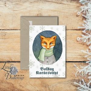 Karácsonyi Képeslap, Vintage karácsony, Állatos, Adventi üdvözlőlap, Ünnepi lap, hó, klasszikus, medve, róka, szarvas, Karácsonyi képeslap, Karácsony & Mikulás, Otthon & Lakás, Fotó, grafika, rajz, illusztráció, Mindenmás, Minőségi Kinyitható Képeslap\n\n* MÉRET:\nFélbehajtva: kb.: A6\n\n* KIVITELEZÉS:\nLekerekített sarkok, bel..., Meska