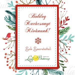 Karácsonyi Képeslap, Vintage karácsony, Állatos, Adventi üdvözlőlap, Ünnepi lap, hó, klasszikus, medve, róka, szarvas (LindaButtercup) - Meska.hu
