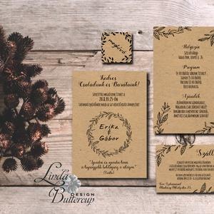 Natúr esküvői meghívó, újrahasznosított papír meghívó, barna kraft papír, kraft meghívó, egyszerű, barna, natúr esküvő, Esküvő, Meghívó, ültetőkártya, köszönőajándék, Naptár, képeslap, album, Otthon & lakás, Képeslap, levélpapír, Fotó, grafika, rajz, illusztráció, Papírművészet, Minőségi Virágos Esküvői  Meghívó\n\nMeghívó CSOMAG:\n* Meghívó lap, dupla oldalas nyomtatás : kb.:14.3..., Meska