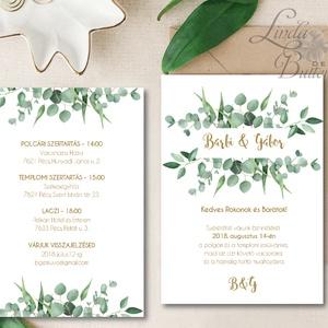 Greenery Meghívó, zöld Esküvői meghívó, eukaliptusz, silver coin, zöld leveles, levél, natúr meghívó, természetközeli (LindaButtercup) - Meska.hu