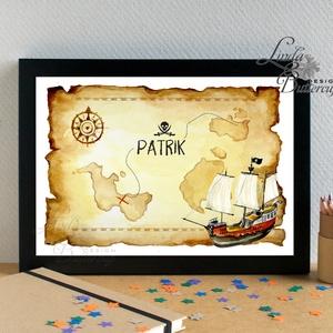 Babaszoba Falikép, Fiúnak, Kalózos kép, kalóz, hajó, kincses sziget, térkép, fiú Gyerekszoba kép, dekoráció, névreszóló (LindaButtercup) - Meska.hu