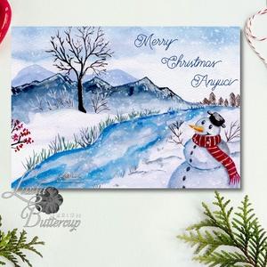 Karácsonyi Képeslap, Adventi Képeslap, havas táj, hó, fenyő, Vintage, Karácsonyi üdvözlőlap, Ünnepi lap, kártya, hóember, Otthon & Lakás, Karácsonyi képeslap, Karácsony & Mikulás, Minőségi Kinyitható Képeslap  * MÉRET: Félbehajtva: kb.: A6  * KIVITELEZÉS: Lekerekített sarkok, bel..., Meska