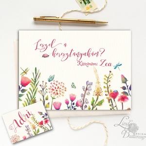 Leszel a keresztanyukám, Keresztanya felkérő lap, réti virágos, Keresztelő meghívó, baba, baby, képeslap, keresztszülő (LindaButtercup) - Meska.hu
