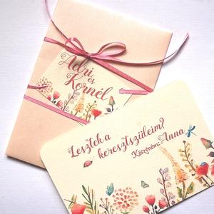 Leszel a keresztanyukám, Keresztanya felkérő lap, réti virágos, Keresztelő meghívó, baba, baby, képeslap, keresztszülő, Otthon & Lakás, Képeslap & Levélpapír, Papír írószer, A/6-os méretű Aranyos Egyedi tervezésű Keresztanya felkérő lap névre szólóan  * Nyomtatás: 1 oldalas..., Meska