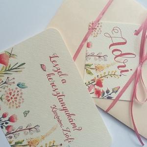 Leszel a keresztanyukám, Keresztanya felkérő lap, rét, vadvirág,Keresztelő meghívó, baba lap, baby, képeslap, baba dekor (LindaButtercup) - Meska.hu