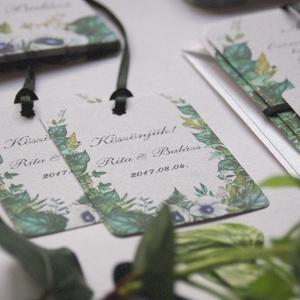 Esküvői köszönetkártya, greenery, ajándékkísérő, natúr, természetközeli, esküvői dekoráció, borostyán, köszönetajándék (LindaButtercup) - Meska.hu