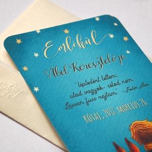 Keresztelő meghívó, Emléklap, Kisherceg, Csillag, Róka, Emlékül, szülinapi meghívó, képeslap, kék, babaváró lap, baba (LindaButtercup) - Meska.hu
