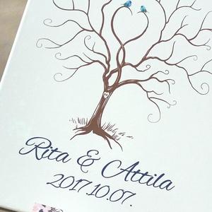 Esküvői ujjlenyomatfa, vászon kép Esküvői fa, vendégkönyv, Fa festmény, Esküvői dekor, emlkékkönyv, nászajándék (LindaButtercup) - Meska.hu