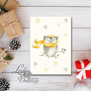 Egyedi Karácsonyi Képeslap, Bagoly, Vintage karácsonyi, Adventi üdvözlőlap, Ünnepi lap, hó, klasszikus, hópihe, Karácsonyi képeslap, Karácsony & Mikulás, Otthon & Lakás, Fotó, grafika, rajz, illusztráció, Mindenmás, Minőségi Kinyitható Képeslap\n\n* MÉRET: \nFélbehajtva: kb.: A6\n\n* KIVITELEZÉS:\nLekerekített sarkok, be..., Meska