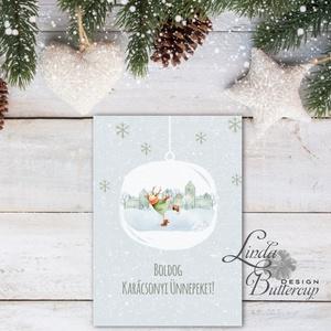 Egyedi Karácsonyi Képeslap, Szarvas, Vintage karácsonyi, Adventi üdvözlőlap, Ünnepi lap, hó, rénszarvas, hópihe, téli, Karácsony, Karácsonyi ajándékozás, Karácsonyi képeslap, üdvözlőlap, ajándékkísérő, Fotó, grafika, rajz, illusztráció, Mindenmás, Meska