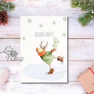 Egyedi Karácsonyi Képeslap, Szarvas, Vintage karácsonyi, Adventi üdvözlőlap, Ünnepi lap, hó, rénszarvas, hópihe, téli, Karácsonyi képeslap, Karácsony & Mikulás, Otthon & Lakás, Fotó, grafika, rajz, illusztráció, Mindenmás, Minőségi Kinyitható Képeslap\n\n* MÉRET: \nFélbehajtva: kb.: A6\n\n* KIVITELEZÉS:\nLekerekített sarkok, be..., Meska