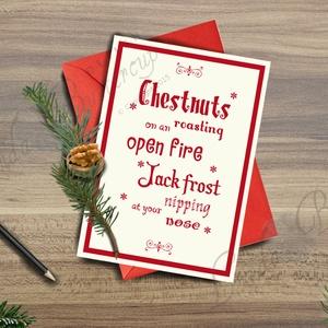 Karácsonyi Képeslap, Adventi Képeslap, Karácsonyi Dekoráció , Otthon & Lakás, Képeslap & Levélpapír, Papír írószer, Minőségi Kinyitható Képeslap  * MÉRET: Félbehajtva: kb.: A6  * KIVITELEZÉS: Lekerekített sarkok, bel..., Meska