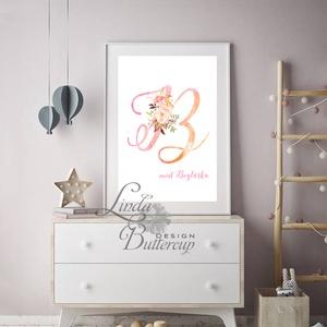 Gyerekszoba Kép, Poszter, Print, babsszoba dekoráció, dekor, falikép, Betű, név, névre szóló, kislány, virágos, rózsa (LindaButtercup) - Meska.hu