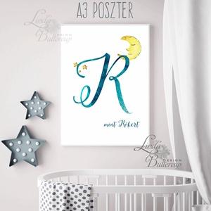 Gyerekszoba Kép, Poszter, Print, babsszoba dekoráció, dekor, falikép, Betű, név, névre szóló, kisfiú, hold, csillag (LindaButtercup) - Meska.hu