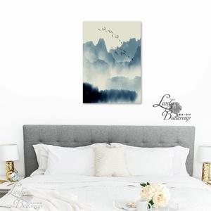 Japán kép, Keleti dekoráció, Falikép, japán fametszet, Fuji, Himalaya, kína, táj, fenyves, hegyek, köd, madár festmény (LindaButtercup) - Meska.hu