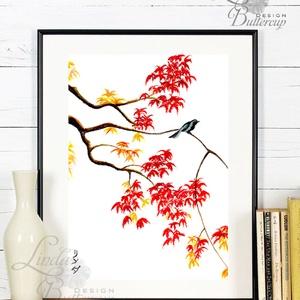 Japán kép, Keleti dekoráció, Falikép, japán festmény, vörös, juhar, kína, bonsai, fa, őszi festmény, ősz, madár (LindaButtercup) - Meska.hu