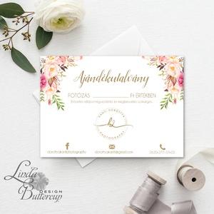 Ajándékutalvány Fotós, Egyedi Tervezés, fotográfus, címke, Névjegy, design, virágos logo, ajándékkísérő, logó, Kupon (LindaButtercup) - Meska.hu