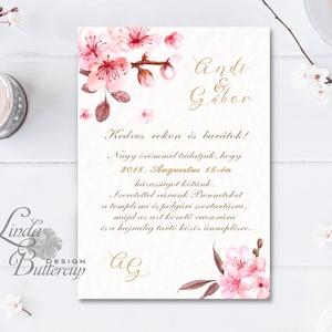 Cseresznyevirágos Esküvői meghívó, Virágos Esküvői lap, Esküvő Képeslap, rózsa lap,  rózsaszín meghívó, cseresznyefa, Esküvő, Meghívó, Meghívó & Kártya, Fotó, grafika, rajz, illusztráció, Papírművészet, Meska