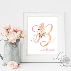 Gyerekszoba Kép, Kislány, Print, Betű, virágos, tavasz, babsszoba dekoráció, dekor, falikép, névreszóló, szülinap, név (LindaButtercup) - Meska.hu