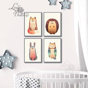 Babaszoba állatos falikép, Állatok festmény, Erdei állat, vadállatok, kép, Gyerekszoba dekor, nyuszi, bagoly, róka, süni, Dekoráció, Otthon & lakás, Gyerek & játék, Gyerekszoba, Baba falikép, Festészet, Fotó, grafika, rajz, illusztráció, A4 Minőségi Print Lap, Nyomtatás\n\n* KERET NÉLKÜL! *\n\n* 4db A4-es Print Lap Szett\n\n* MÉRET: A4\n\n* ANY..., Meska