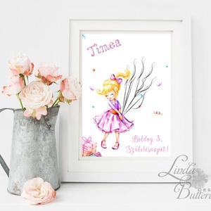 Születésnapi kép, Ujjlenyomat lufik, kislány, Babaszoba Dekoráció, baba falikép,Gyerekszoba, szülinapi ajándék, balerina (LindaButtercup) - Meska.hu