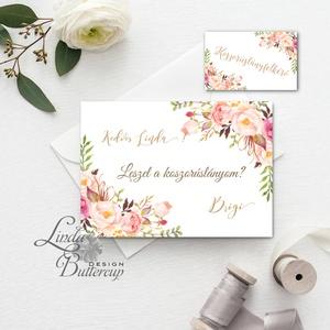 Tanú felkérő lap, koszorúslány felkérő lap, Esküvői Képeslap, virágos, rózsa, rózsás, natúr, esküvői meghívó, arany, Esküvő, Meghívó, ültetőkártya, köszönőajándék, Naptár, képeslap, album, Otthon & lakás, Képeslap, levélpapír, Festészet, Fotó, grafika, rajz, illusztráció, Tanú / Koszorúslány felkérő lap A/6, borítékkal.\n\nNÉVRE SZÓLÓ LAP:\n** SZÖVEG VÁLTOZTATHATÓ**\n\n* KIVI..., Meska