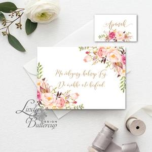 Örömanya, Örömapa, köszönet, Tanú felkérő lap, koszorúslány felkérő lap, Esküvői Képeslap, virágos, rózsa, rózsás, arany, Esküvő, Meghívó, Meghívó & Kártya, Örömanya/Örömapa köszönet lap A/6, borítékkal.  NÉVRE SZÓLÓ LAP: ** SZÖVEG VÁLTOZTATHATÓ**  * KIVITE..., Meska