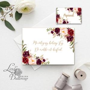 Örömanya, Örömapa, köszönet, Tanú felkérő lap, koszorúslány, Esküvői Képeslap, bordó, rózsa, rózsás, arany, őszi, ősz (LindaButtercup) - Meska.hu