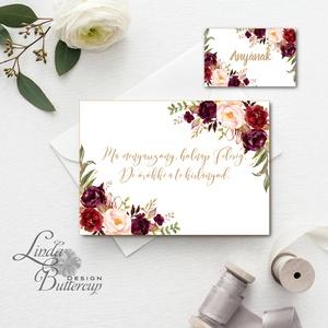 Örömanya, Örömapa, köszönet, Tanú felkérő lap, Esküvői Képeslap, bordó, rózsa, rózsás, arany, őszi, ősz, anya, anyának, Esküvő, Meghívó, Meghívó & Kártya, Örömanya/Örömapa köszönet lap A/6, borítékkal.  NÉVRE SZÓLÓ LAP: ** SZÖVEG VÁLTOZTATHATÓ**  * KIVITE..., Meska