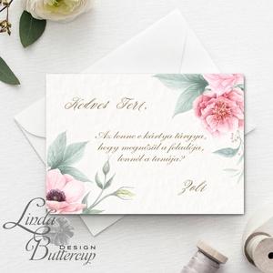 Tanú felkérő lap, koszorúslány felkérő lap, Esküvői Képeslap, virágos, rózsa, rózsás, romantikus, esküvői meghívó (LindaButtercup) - Meska.hu