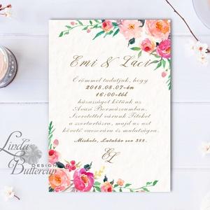 Virágos Esküvői meghívó, Virágos Esküvői lap, Esküvő Képeslap, rózsa lap,  rózsaszín meghívó, bazsarózsa, rózsás (LindaButtercup) - Meska.hu