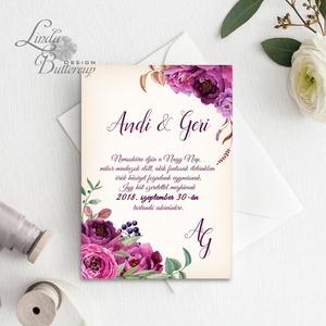 Virágos Esküvői meghívó, Virágos Esküvői lap, Esküvő Képeslap, rózsa lap,  rózsaszín meghívó, bazsarózsa, rózsás, Esküvő, Meghívó, Meghívó & Kártya, Fotó, grafika, rajz, illusztráció, Papírművészet, Meska