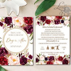 Őszi Esküvői meghívó, Virágos Esküvői lap, Esküvő Képeslap, esküvői meghívó, őszirózsa, rózsás, arany, barna, rózsa (LindaButtercup) - Meska.hu