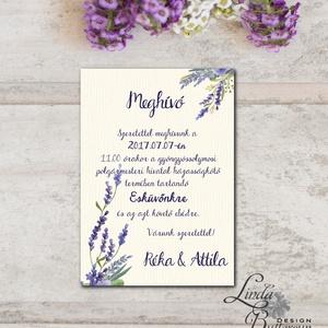 Levendula Esküvői meghívó, Vintage meghívó, Levendula lila, Esküvői lap, lila virágos lap, levendula meghívó, Esküvő, Meghívó, ültetőkártya, köszönőajándék, Naptár, képeslap, album, Otthon & lakás, Képeslap, levélpapír, Fotó, grafika, rajz, illusztráció, Papírművészet, Minőségi  Esküvői  Meghívó\n\n* MEGHÍVÓ CSOMAG BORÍTÉKKAL:\n- Meghívó egy lap, egy oldalas: kb.: 14cm x..., Meska