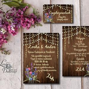 Vad Réti Virágos Esküvői meghívó, Pajta Esküvő, falu, Vintage Esküvői lap, vad virág, Rusztikus, Bohém, Esküvő, Meghívó, Meghívó & Kártya, Minőségi Virágos Esküvői  Meghívó  * MEGHÍVÓ CSOMAG BORÍTÉKKAL: - 1.  -Meghívó lap, egy oldalas: kb...., Meska