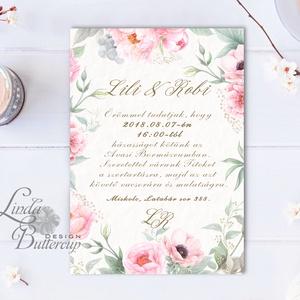 Virágos Esküvői meghívó, Virágos Esküvői lap, Esküvő Képeslap, rózsa lap, virágkoszorú, pink, bazsarózsa, rózsás, Esküvő, Meghívó, Meghívó & Kártya, Fotó, grafika, rajz, illusztráció, Papírművészet, Meska