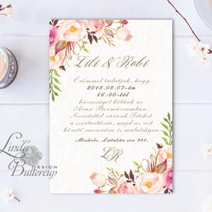 Virágos Esküvői meghívó, Virágos Esküvői lap, Esküvő Képeslap, rózsa lap, virágkoszorú, pink, bazsarózsa, rózsás (LindaButtercup) - Meska.hu