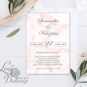 Márvány Esküvői meghívó, Krém meghívó, marble, núd, pink, beige, Esküvői lap, modern meghívó, texturált, kő (LindaButtercup) - Meska.hu