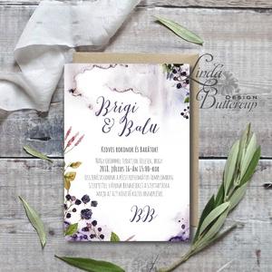 Vízfesték Esküvői meghívó, Erdei Esküvői lap, Esküvő Képeslap, Erdő meghívó, Természet közeli, bogyós, szeder, növény (LindaButtercup) - Meska.hu