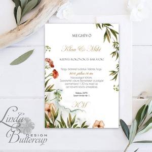 Greenery Meghívó, Esküvői meghívó, Természet közeli, natúr, vízfesték, Esküvői kártya, virágos, rét, vadvirág, zöld (LindaButtercup) - Meska.hu