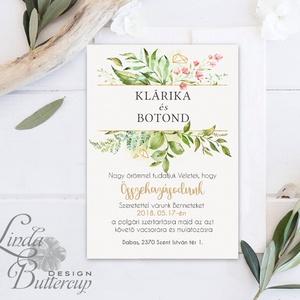 Greenery Meghívó, Esküvői meghívó, Természet közeli, natúr, vízfesték, Esküvői kártya, virágos, rét, vadvirág, zöld - Meska.hu