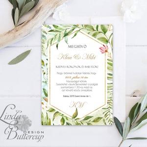 Greenery Meghívó, GeometrikusEsküvői meghívó, Természetközeli, natúr, vízfesték, Esküvői kártya, virágos, vadvirág, zöld (LindaButtercup) - Meska.hu